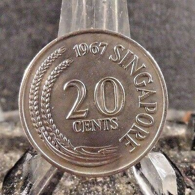 Circulated 1967 20 Cents Singapore Coin (80617)1