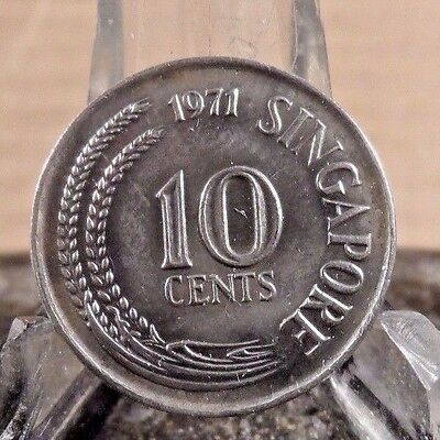 Circulated 1971 10 Cents Singapore Coin (81817)1.....Free Shipping!!!!!