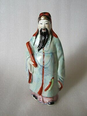 Original Old Vintage Chinese Official Figure Hand Painted Porcelain
