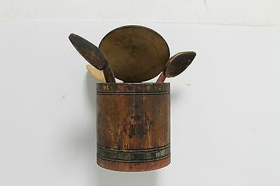 Antique Authentic Primitive Wooden Wall Kitchen Box with Spoons