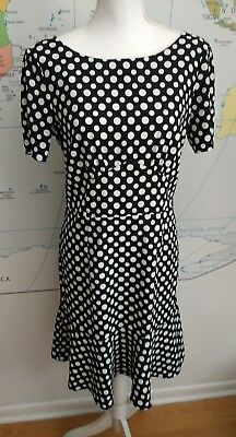 Next Black & White Polka Dot Knee Length Dress UK Size 10