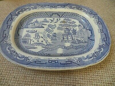 """Willow Pattern Platter  Very Large Antique Pearlware Transfer Blue & White 18.5"""""""