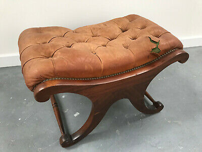 Vintage Leather Chesterfield Saddle Foot Stool