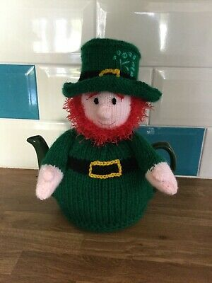 Lucky the Leprechaun Tea Cosie / Cosy cover Hand Knitted.Great Gift