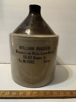 Antique Stoneware Jug Advertising William Riggers Wholesale And Retail Detroit