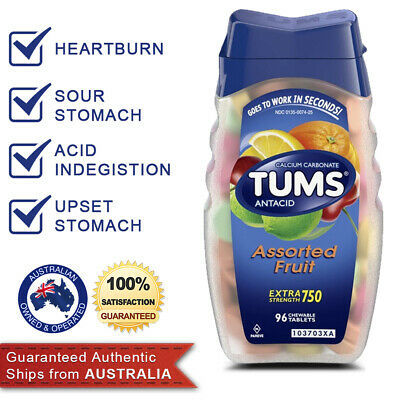 TUMS Antacid Chewable 96 Tablets Extra Strength Assorted Fruits Heartburn Relief