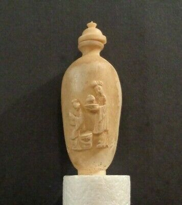 Vintage Chinese Snuff Bottle - Handcarved High Relief Figural w Top and Spoon