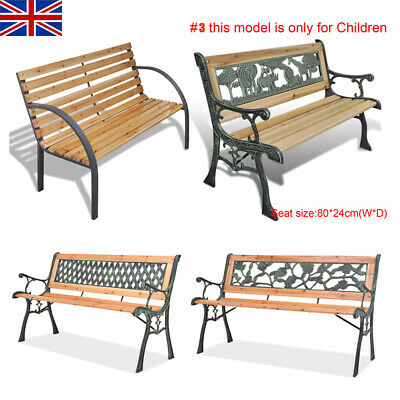 Garden Metal Wooden Outdoor Bench 2-3 Seating Cast Iron Rustic Patio Furniture