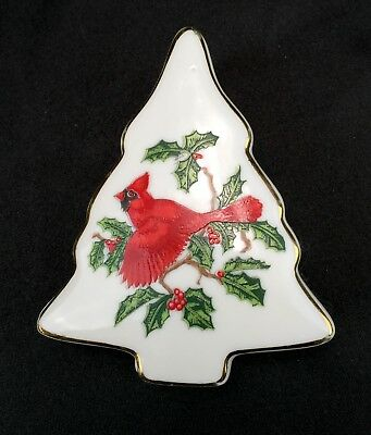 Lefton Trinket Box Christmas Red Cardinal Tree Hand Painted 1203 Japan