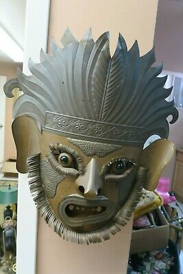 "Large 20""  Vintage Mexican Ethnic Folk Art Tin Mask Glass Eyes Wall Hanging"