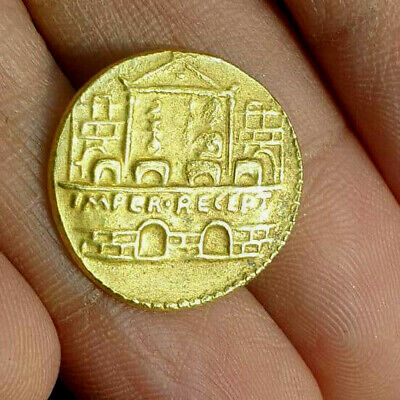 Ancient Roman Empire Claudius proclaims IMPERator RECEPTus Solid 22k Gold Coin