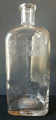 Vintage Mercitan Mouth & Throat Lotion Glass Medicine Bottle Milford Delaware
