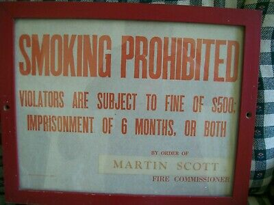 Nyc Fire Dept Sign 1964 Smoking Prohibited