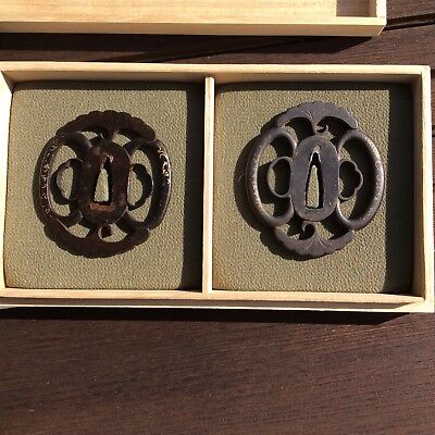 iron tsuba daisho set , northern shoami with collectors box