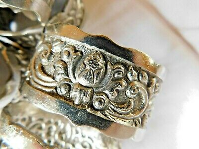 Set of 6 Silver Plated Napkin Rings / Beautiful and Very Ornate