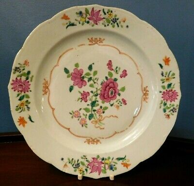 Antique Chinese Export Canton Celadon Porcelain Plate Famille Rose. 19th Century