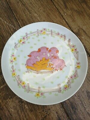 Vintage Childs 21cm Plate, Pigs Eating Corn By Baby Gourmet, Shafford.