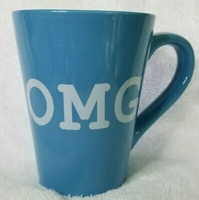 Dat'l Do It Inc DDI Coffee Mug / Cup Ceramic Blue with White Print OMG Tapered