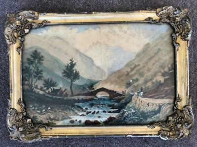 ANTIQUE 19th CENTURY ENGLISH SCHOOL RIVER WATER COLOUR PAINTING.