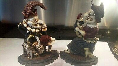 Vintage Hand Painted Pair of Punch and Judy cast iron doorstops