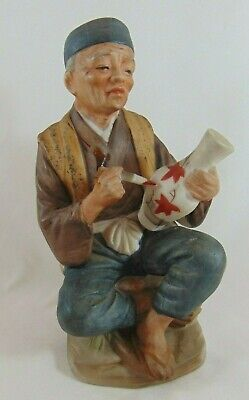 VINTAGE CERAMIC FIGURINE MAN PAINTING VASE CHINESE  JAPANESE 16cm