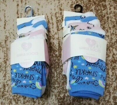 5 Pairs Girls Socks Childrens Kids Unicorn Themed Socks From Peacocks