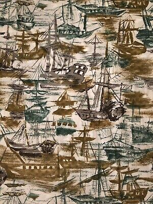 "Mid Century Boat Brown Green J Manes Inc Fabric 4 1/2 Yds 36""W"