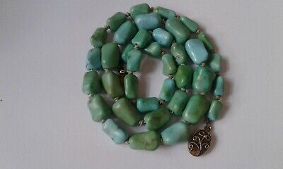 Antique Chinese natural turquoise necklace.