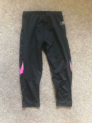 Girls Karrimor  Knee Length Running Leggings Age 11-12 Black & Pink Lycra