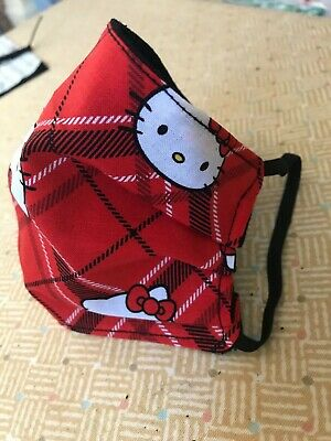 Red Plaid Hello Kitty Handmade 3 Layer adult Fabric Face Mask Sanrio
