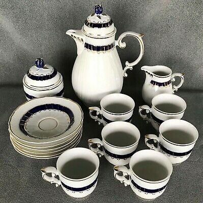 Hollohaza Hungary Hungarian China Porcelain 15 Piece Demitasse Service Set
