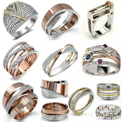 Multi-Styles Two Tone 925 Sterling Silver Rings Women White Sapphire Ring Sz6-12