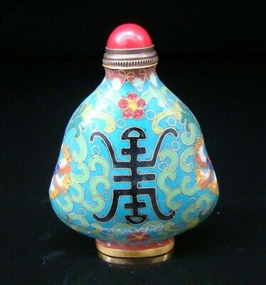 Collectibles 100% Handmade Painting Brass Cloisonne Enamel Snuff Bottles 085