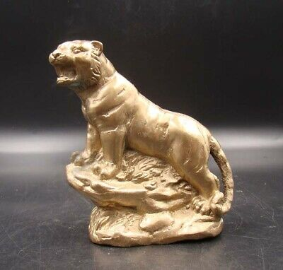 Collectible Handmade Carving Statue Tiger Copper Brass Deco Art