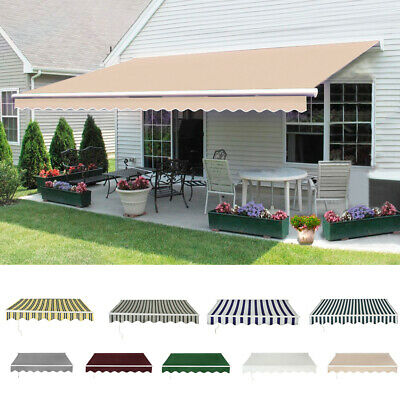 Retractable Awning Manual Outdoor Garden Canopy Patio Sun Shade Shelter 9 Colour