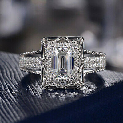 Gorgeous Women 925 Silver Wedding Engagement Rings White Sapphire Ring Size 7
