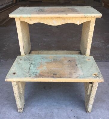 Large Vintage Primitive Wood Country Step Stool Kitchen Bench Old Plant Stand