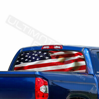 Flags Decals Window See Thru Stickers Perforated for Toyota Tundra 2016 2017