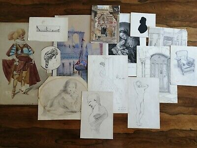 Painting, Pencil Drawing Folio Lot