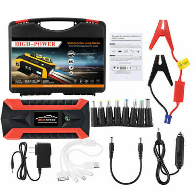 Bank New 89800mAh Car Jump Starter Pack Booster LCD 4 USB Charger Battery Power