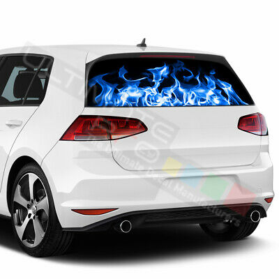 Flames Decals Window See Thru Stickers Perforated for Volkswagen Golf 2017