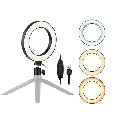 """6"""" LED Ring Light Dimmable Lamp for Live Streaming Selfie YouTube Makeup F6T6"""
