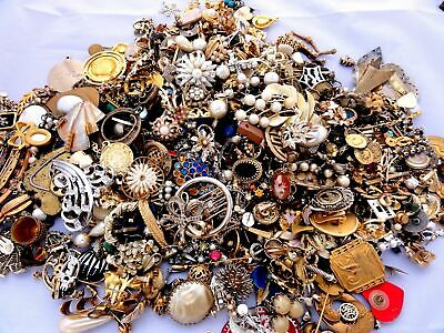 Unsorted Pounds Vintage Now Jewelry Junk Craft Lot Parts Tangles Brooch Necklace