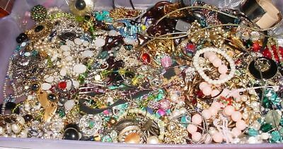 STUFFED BOX 2-4 Pounds Vintage Now Jewelry Junk Craft Lot Parts Necklace Brooch