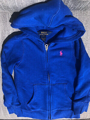 Polo Ralph Lauren girls zip up hoodie (size 4) blue with pink pony Never worn