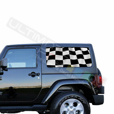 Playing Cards SeeThru Stickers Perforated for Jeep Wrangler 2 doors side window