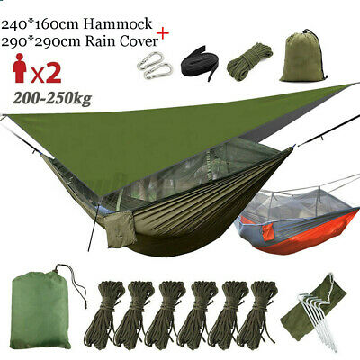 2 Person Outdoor Camping Hammock With Mosquito Net Mesh+Rain Fly Tarp Cover  O