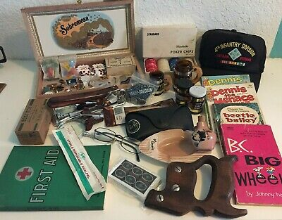 VTG JUNK DRAWER Mens Items FLAT RATE Box LOT Collectibles 50's Stuff MIXED USA