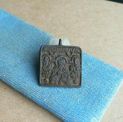Medieval Bronze Icon With St Nicholas And Saints - Historic Religious Artifact
