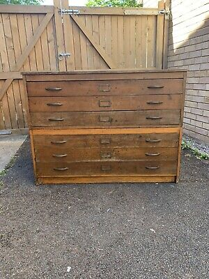 Vintage Industrial Plan Chest Architects Drawers Antique